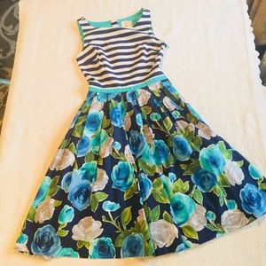 Modcloth Navy Stripe and Floral -XS